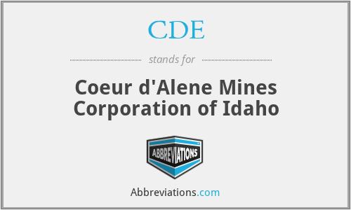 CDE - Coeur d'Alene Mines Corporation of Idaho