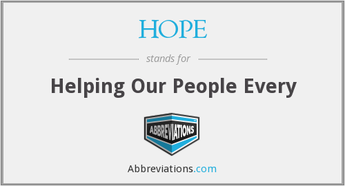 What is the abbreviation for helping our people every?