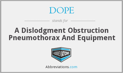 DOPE - A Dislodgment Obstruction Pneumothorax And Equipment