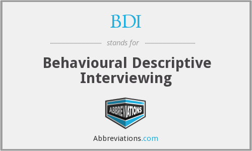 BDI - Behavioural Descriptive Interviewing
