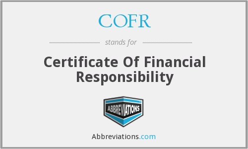COFR - Certificate Of Financial Responsibility
