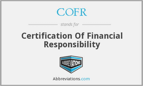 COFR - Certification Of Financial Responsibility