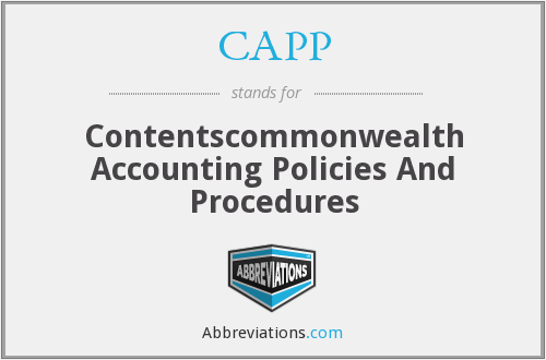 CAPP - Contentscommonwealth Accounting Policies And Procedures