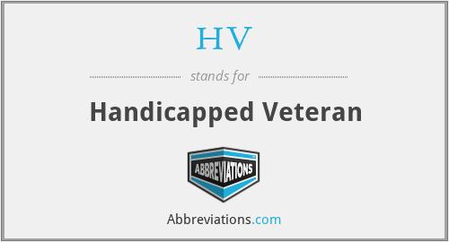 HV - Handicapped Veteran