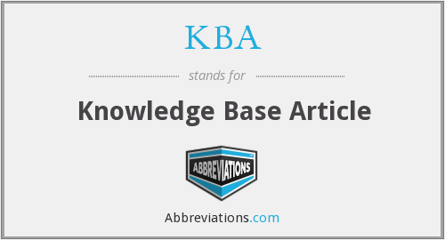 KBA - Knowledge Base Article