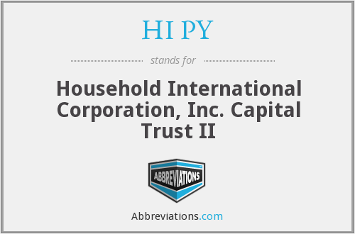 HI PY - Household International Corporation, Inc. Capital Trust II
