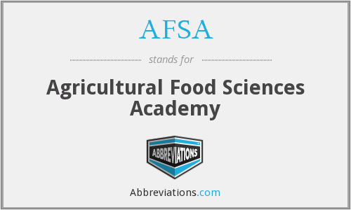 AFSA - Agricultural Food Sciences Academy
