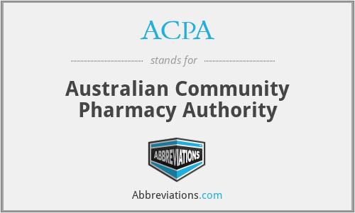 ACPA - Australian Community Pharmacy Authority