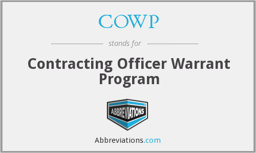 COWP - Contracting Officer Warrant Program