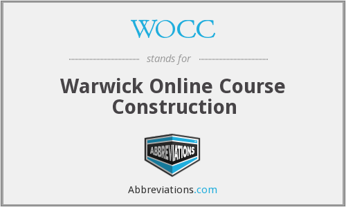 WOCC - Warwick Online Course Construction