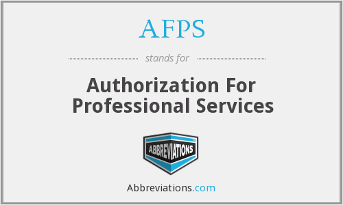 AFPS - Authorization For Professional Services