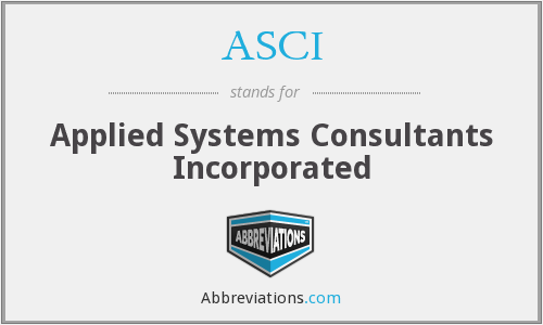 ASCI - Applied Systems Consultants Incorporated