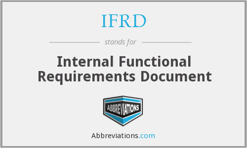 IFRD - Internal Functional Requirements Document