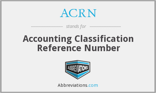 ACRN - Accounting Classification Reference Number