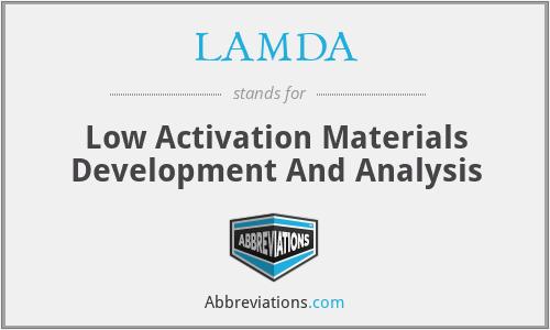 LAMDA - Low Activation Materials Development And Analysis