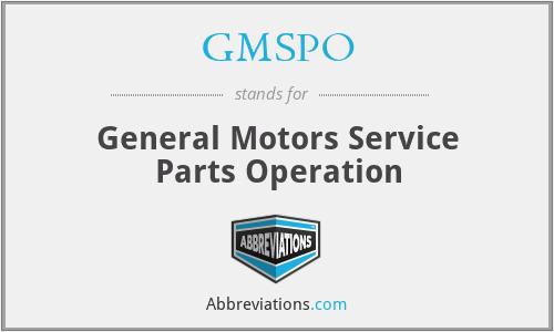 GMSPO - General Motors Service Parts Operation
