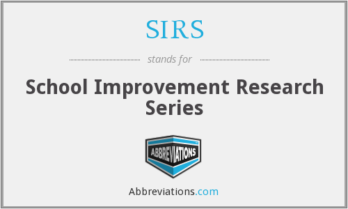 SIRS - School Improvement Research Series