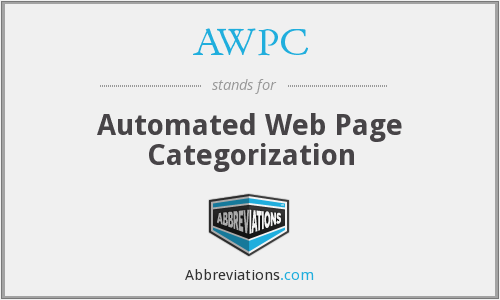 AWPC - Automated Web Page Categorization