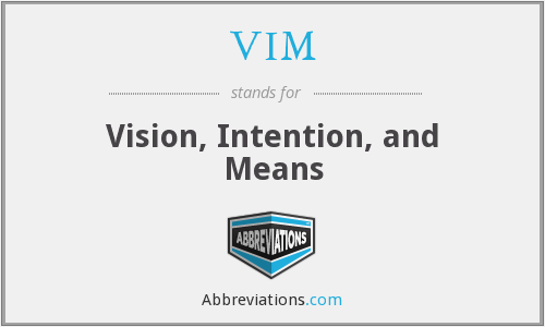 VIM - Vision, Intention, and Means