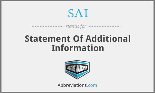SAI - Statement Of Additional Information