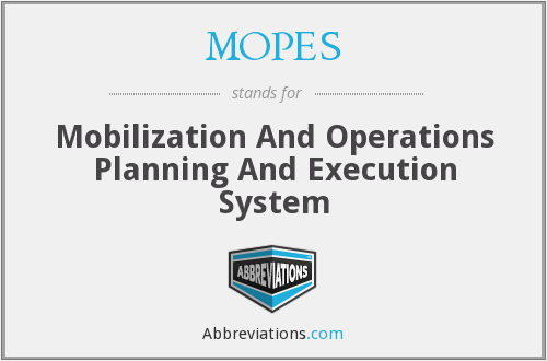 MOPES - Mobilization And Operations Planning And Execution System