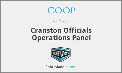 COOP - Cranston Officials Operations Panel