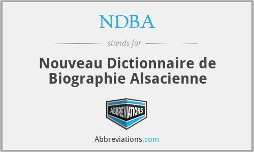 NDBA - Nouveau Dictionnaire de Biographie Alsacienne