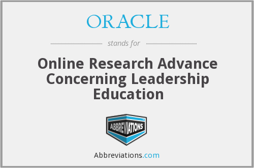ORACLE - Online Research Advance Concerning Leadership Education