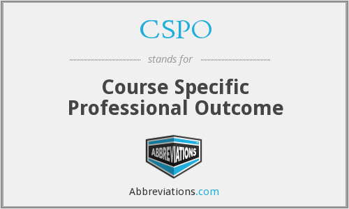 CSPO - Course Specific Professional Outcome