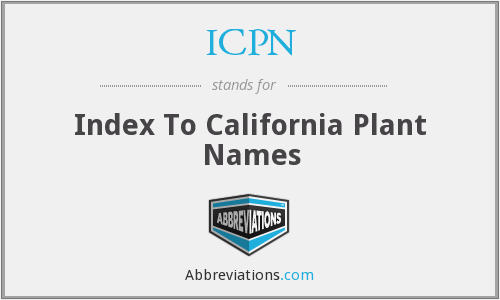 ICPN - Index To California Plant Names