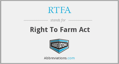 RTFA - Right To Farm Act