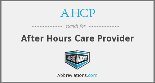 AHCP - After Hours Care Provider