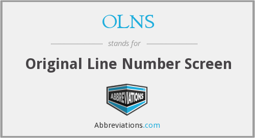 OLNS - Original Line Number Screen