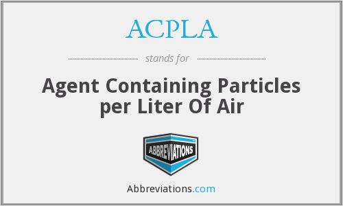 ACPLA - Agent Containing Particles per Liter Of Air