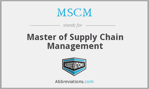 MSCM - Master of Supply Chain Management