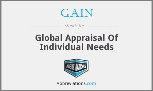 GAIN - Global Appraisal Of Individual Needs