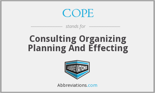 COPE - Consulting Organizing Planning And Effecting