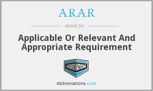 What does ARAR stand for?