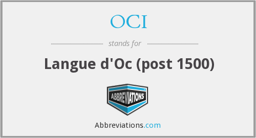 OCI - Langue d'Oc (post 1500)