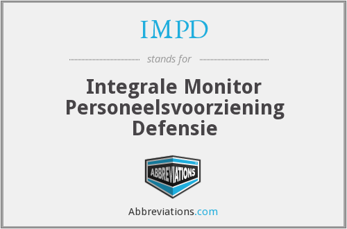 IMPD - Integrale Monitor Personeelsvoorziening Defensie