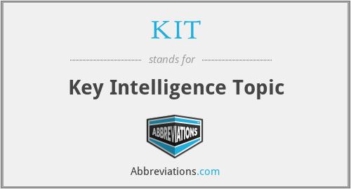 KIT - Key Intelligence Topic