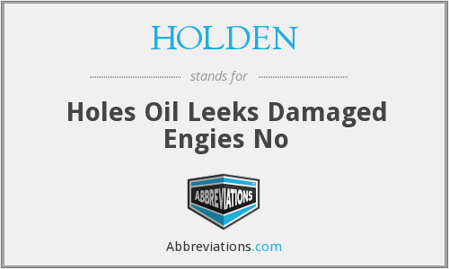 HOLDEN - Holes Oil Leeks Damaged Engies No