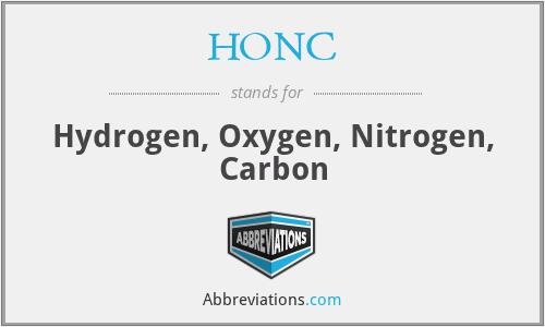 HONC - Hydrogen, Oxygen, Nitrogen, Carbon