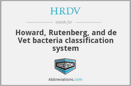 HRDV - Howard, Rutenberg, and de Vet bacteria classification system