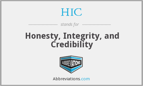 HIC - Honesty, Integrity, and Credibility