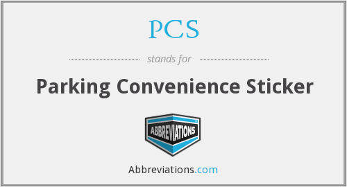 PCS - Parking Convenience Sticker