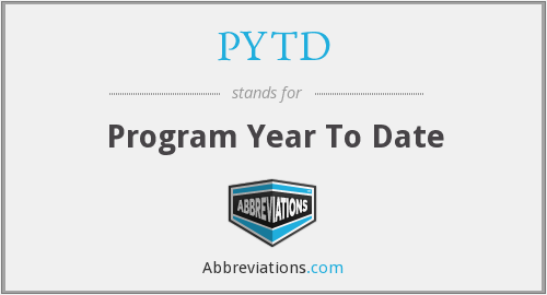 PYTD - Program Year To Date