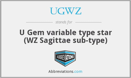What does UGWZ stand for?