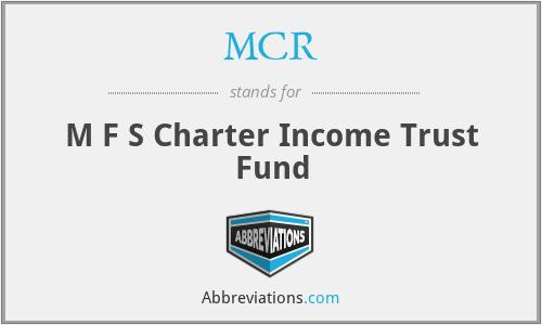 MCR - M F S Charter Income Trust Fund