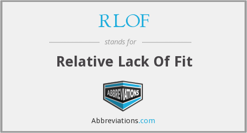 RLOF - Relative Lack Of Fit